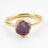 Rainbow Druzy Ring Statement Ring For Women Gold Plated G1450