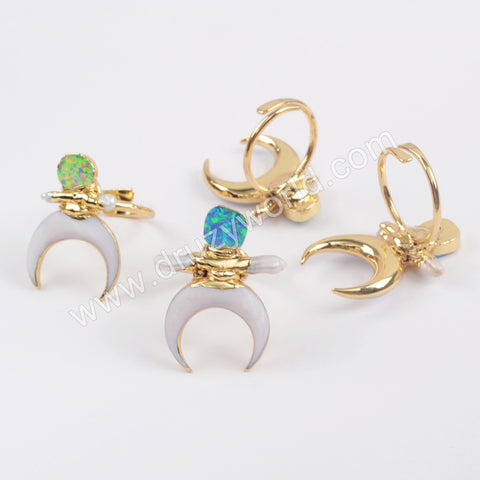 Gold Plated Crescent White Shell & Manmade Opal Adjustable Ring G1863