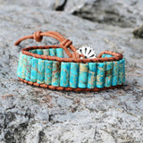 Spring Times Boho Tube Shape Natural Stone Leather Bracelet Girlfriend Creative Gifts HD0064