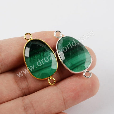Natural Malachite Connector For Jewelry Making Gold Plated  G1940