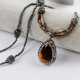 Rhinestone Pave Tirger Eye Necklace JAB909