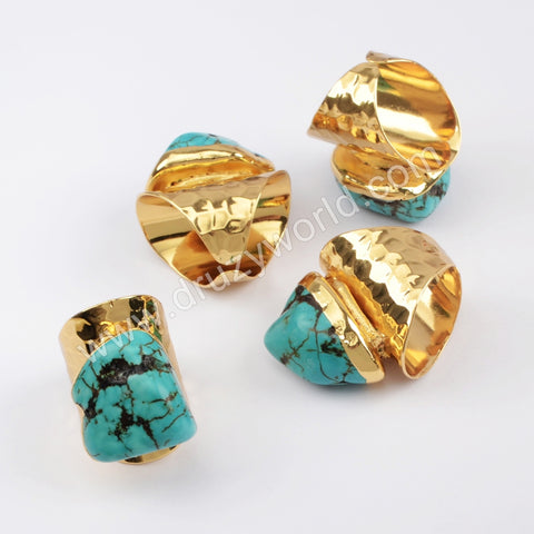 Gold Plated Blue Howlite Band Ring G1830