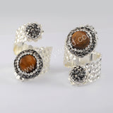 Tiger Eye Stone Rhinestone Gesmtone Rings Jewelry Women Silver JAB979