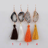 Rose Gold Plated Natural Druzy Slice Rainbow Tassel Earrings R1235