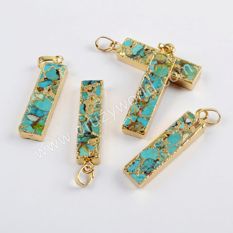 Silver Plated Rectangle Copper Turquoise Pendant For Necklace Handmade Jewelry G1649/S1650