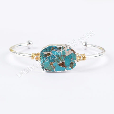 Natural Copper Turquoise Gemston Wire Wrapped Bangle Cuff Silver Plated S1660