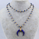 Gold Plated Wire Wrap Blue Shell Horn layer Necklace With Titanium Blue Quartz Faceted Beads G1163