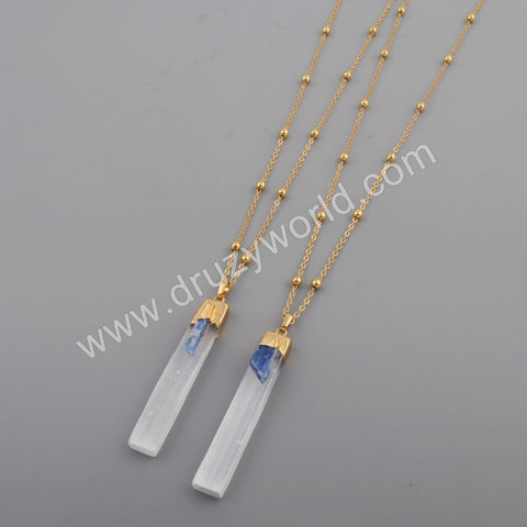 "16"" Rectangle Gold Plated Selenite Stone & Natural Kyanite Necklace G1778-N"