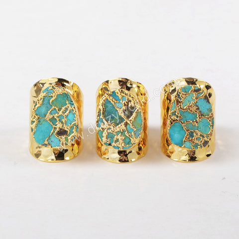 Gold Plated Copper Turquoise Band Ring G1284