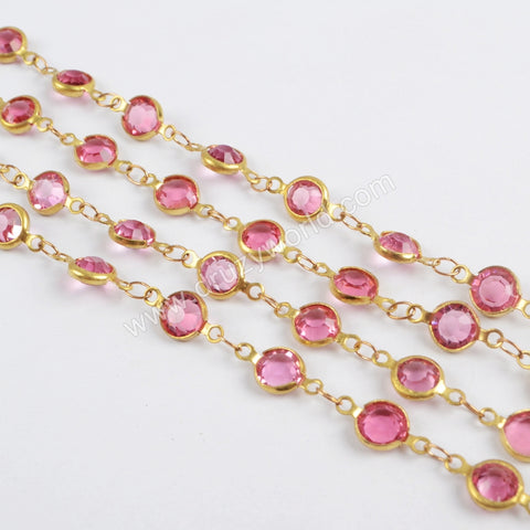 5m/llot,Gold Plated 7mm Pink Crystal Faceted Coin Rosary Chains JT191