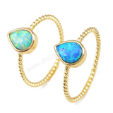 Gold Bezel Drop White Opal Ring ZG0247