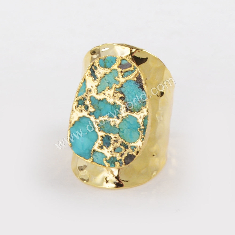 Copper Turquoise Band Ring Gold Plated  G1284