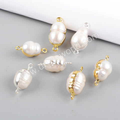 Gold/Silver Plated Natural Pearl Connector WX1055