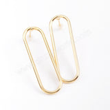 5pairs/lot ,Long Oval Gold Plated Brass DIY Earrings stud Making Jewelry Supply PJ199