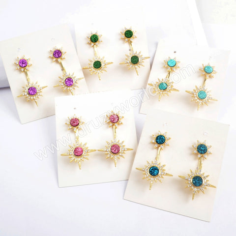 Double Star Gold Plated CZ Micro Pave Rainbow Druzy Studs Earring ZG0386