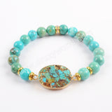 Round Oval Marquis Gold Plated Copper Natural Turquoise With 8mm Turquoise Beads Bracelet G1719
