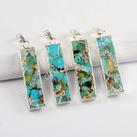 Copper Turquoise Pendant For Handmade Jewelry Silver Plated S1659
