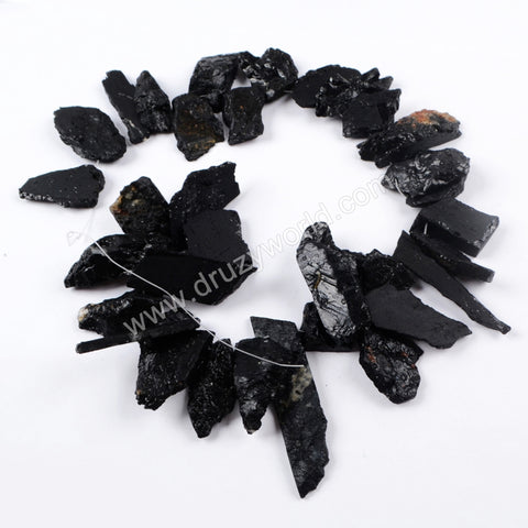 Raw Black Tourmaline Slice Beads LS021