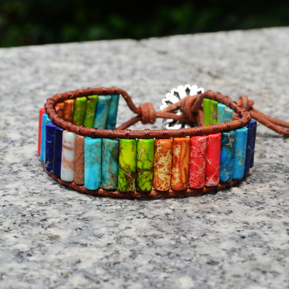 Chakra Handmade Natural Stone Tube Beads Leather Wrap Bracelet Women Bracelet Jewelry Girlfriend Creative Gifts HD0065