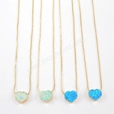 Gold Plated Heart White Opal Necklace G1497