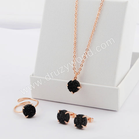 10mm Round Gold Plated Claw Natural Agate Titanium Black Druzy Earrings Ring Necklace Set ZG0400