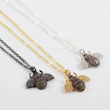 CZ Micro Pave Crystal Dung Beetles Necklace WX840