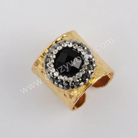 Black Agate Druzy Rings Bands Gold Plated jewelry women JAB980