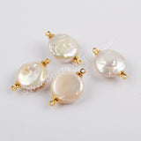 Gold Plated Natural Pearl With Multi CZ Connector G1888