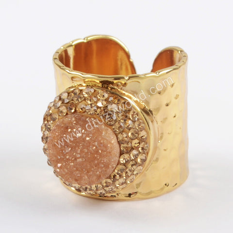 Rhinestone Pave Round Champagne Druzy Agate Gold Band Ring JAB831