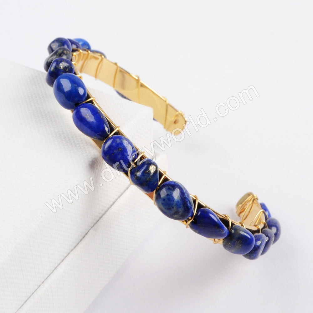 Gold Plated Multi-kind Stone Chips Bangle G1734