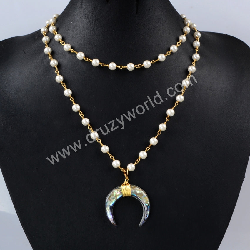 Gold Plated Wire Wrap Abalone Shell Horn layer Necklace With Natural Pearl Beads G1164