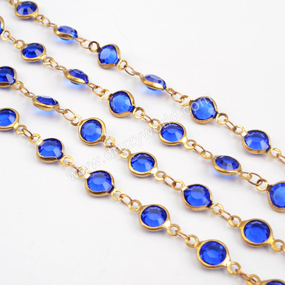 5m/llot,Gold Plated 7mm Dark Blue Crystal Faceted Coin Rosary Chains JT192