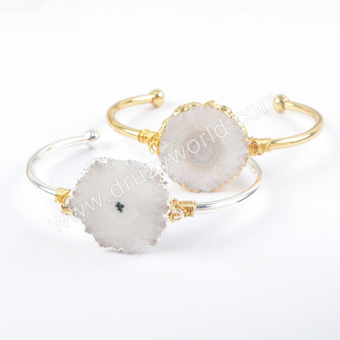 Gold Plated Wire Wrapped Natural Solar Quartz Bangle In Silver Gemstone Jewelry Gift
