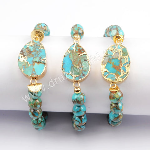 Gold Plated Copper Natural Turquoise With 8mm Turquoise Beads Bracelet G1720