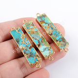Wholesale Gold Plated Rectangle Copper Turquoise Connector In Silver Jewelry G1650