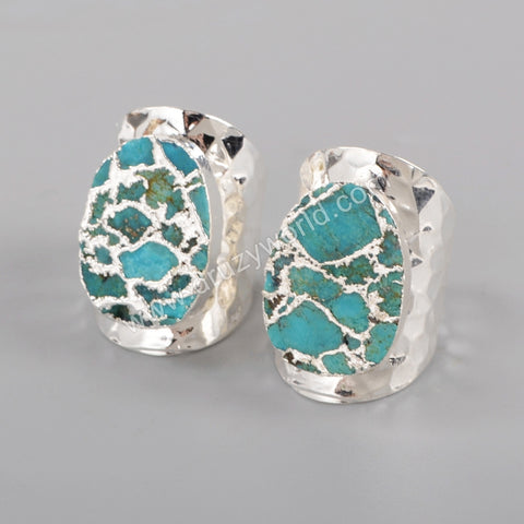 Copper Turquoise Band Ring Women Ring Silver Plated  S1284