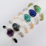 6mm Multi-kind Crystal Beads Bracelet Silver Plated  S1560