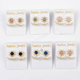 Gold Bezel CZ Micro Pave Crystal Crescent Star Rose Gold Druzy Stud Earrings ZG0248