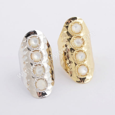 Round Gold Plated White Shell Bezel Band Ring ZG0395