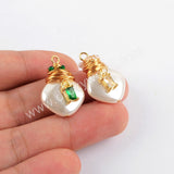 Gold Plated Natural Pearl With Multi CZ Charm WX1273