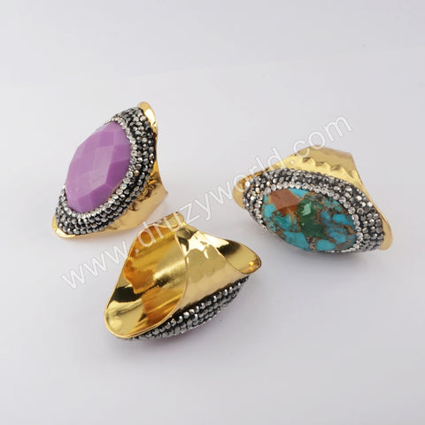 Turquoise Gemstone Rings Band Boho Handmade Gold jewelry women JAB981