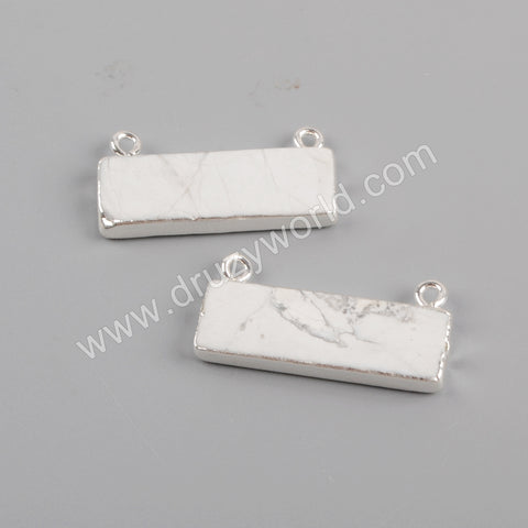 Rectangle Silver Plated White Turquoise Connector S1832