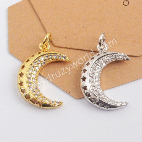 CZ Micro Pave Crescent Pendant Gold Plated WX1354