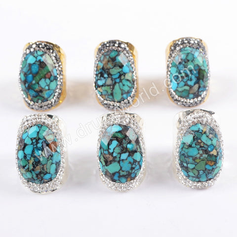 Boho Chic Rhinestone Pave Natural Turquoise Ring In Silver Gold Plated JAB943