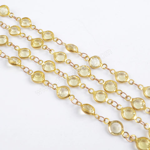 5m/llot,Gold Plated 7mm Yellow Crystal Faceted Coin Rosary Chains JT193