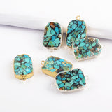 Copper Turquoise Connector For Jewelry Making Silver Plated S1697