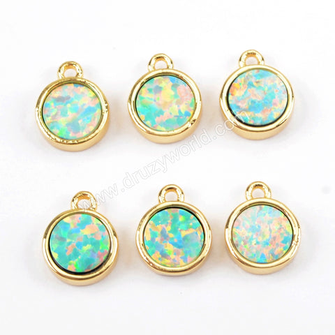 Round Gold Plated Blue Opal Bezel Charm Pendant Bead ZG0262
