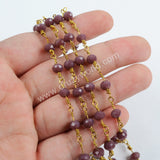 5m/lot,Gold Plated 6mm Purple Crystal Faceted Rosary Chain JT205