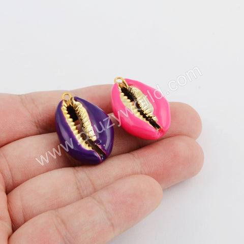 Gold Rainbow Plated Cowrie Shell Pendant WX1075