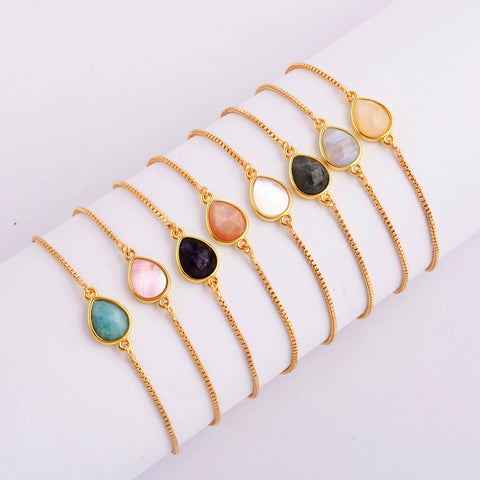 Natural Stone Amethyst Gold Bezel Connector Bracelet WX989